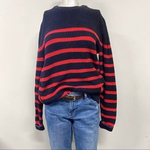 Navy Blue & Red Knit Sweater Stripped